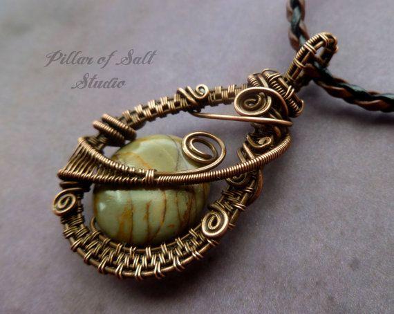 Picasso Jasper Gemstone pendant, Wire Wrapped Pendant, wire wrapped jewelry handmade, copper jewelry, wire jewelry, earthy jewelry