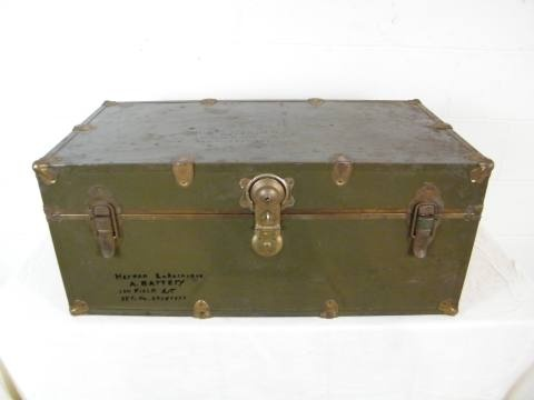 "I love the old trunk look! I have a small ""trunk"", a vintage ""book"", and a ""suitcase"" clock on my bedside table. My hubby likes the look as well. Which will probalby be how we decorate our living room. This is Columbus Architectural Salvage - Vintage Army Trunk"