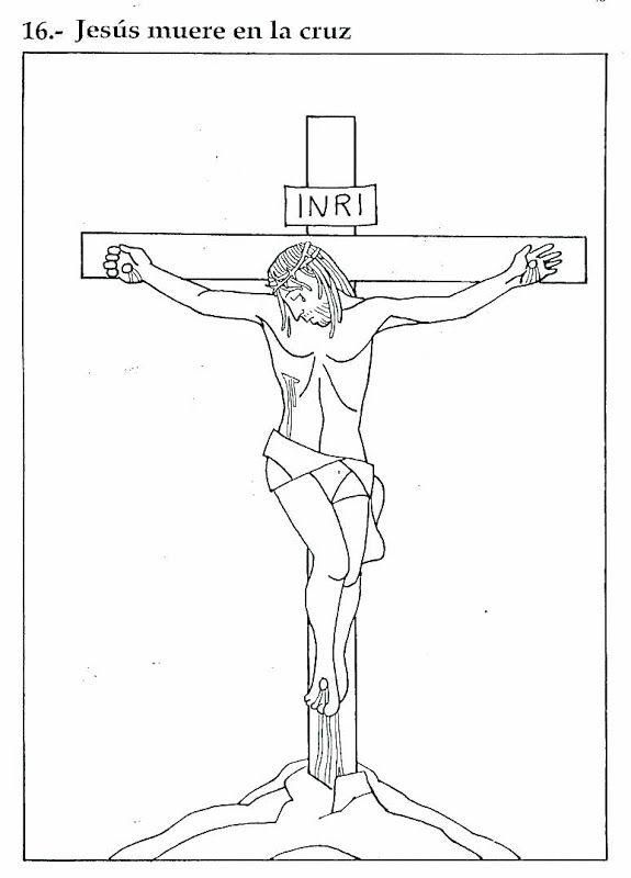 Pinto Dibujos: Jesús muere en la cruz – Dibujo para colorear   Sacro ...