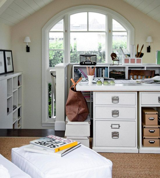 A Previously Ignored Stairway Landing Becomes A Functional Home Office.  More Home Office Ideas.