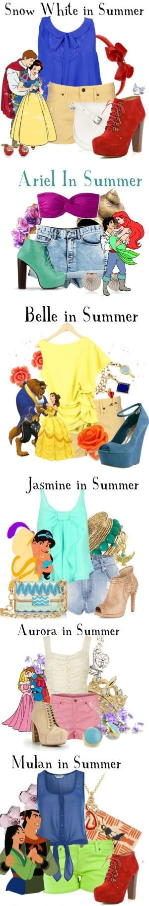 How to dress like a Disney princess in the summer. Definitely going to dress like them for the first 6 days of summer!