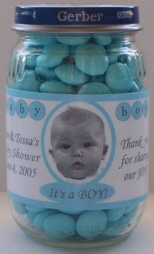 baby food jar labels- baby shower favors, do they still sale baby food in glass jars? They also do custom photos..You could use gerber baby for pic since you don't know what it will look like... https://www.welcomebaby.com/detail.aspx?ID=389