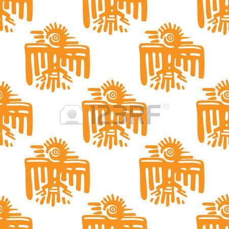 Maya art seamless pattern with ancient orange eagle or parrot bird photo