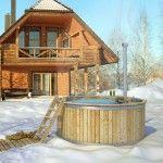 Whirlpool Badetonne Garten Winter coole Idee