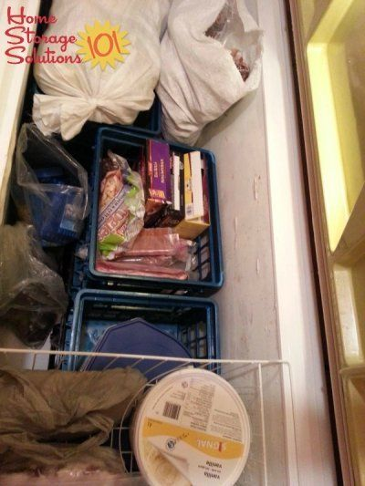 Organizing a chest freezer with stackable plastic filing bins {featured on Home Storage Solutions 101}