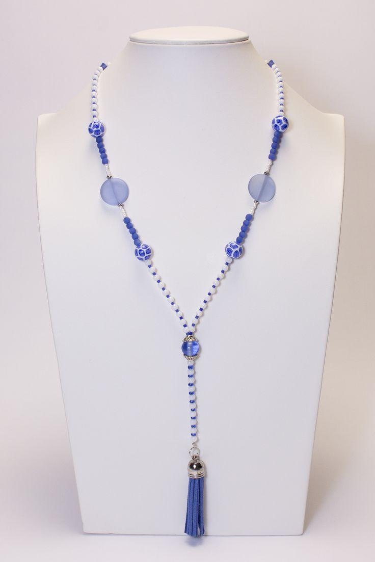 Collier bleu et blanc, pompon bleu #gadhorre #jewelry