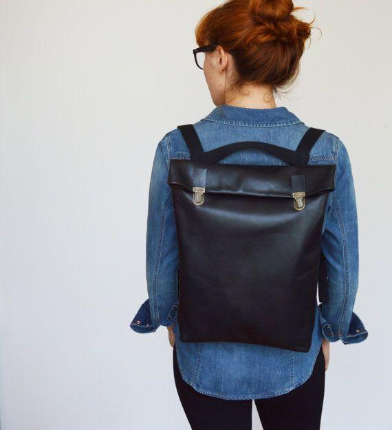 "15"" Minimalistic Leather Backpack / Leather Rucksack/ Laptop/ Messanger/ Tote/ Black / Minimalist/ Black/ Back to school"