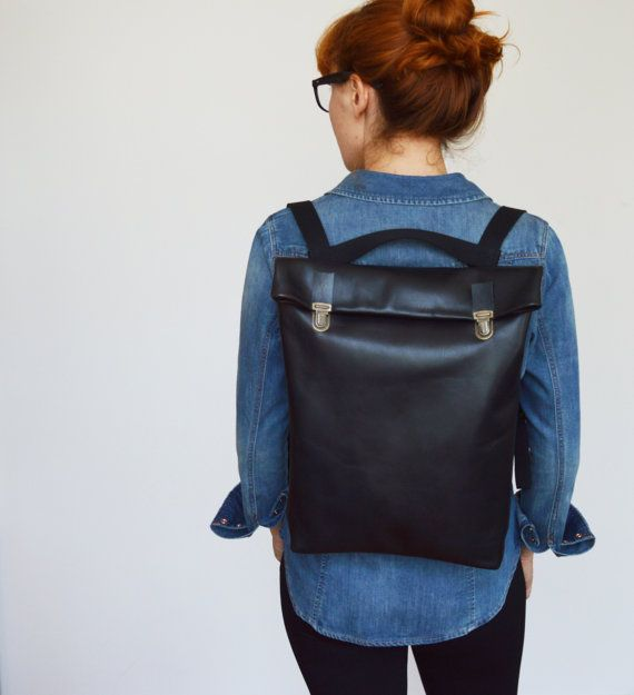 "15 ""or 17 '' Minimalistic Leather Backpack / Leather Backpack / Laptop / Black / Minimalist / Back to school / Work backpack / Woman / Man / Unisex"