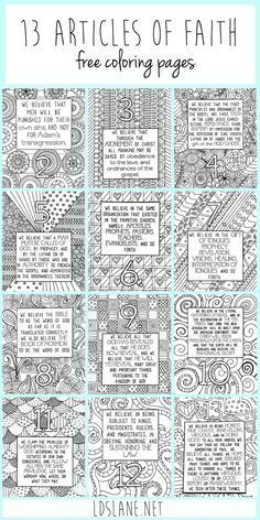 13 Articles of Faith Coloring Pages by LDS Lane