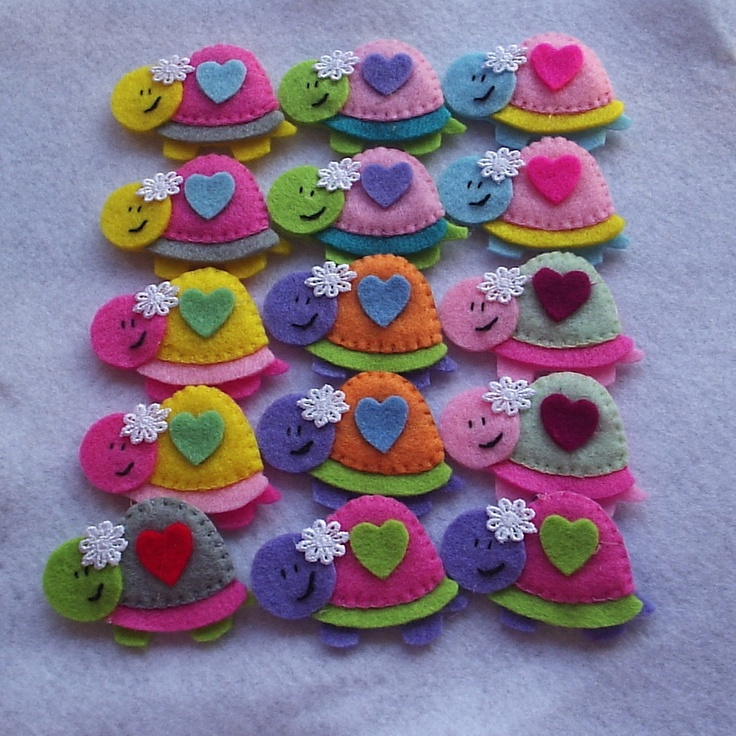Handmade Turtle Felt Applique/Embellishment,set of 5. $4,25, via Etsy.