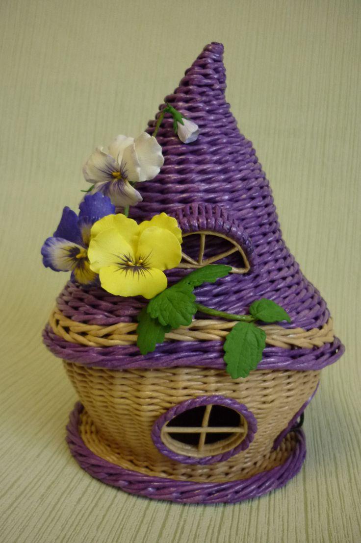 домик конфетный (чайный) ,анютины глазки из фома