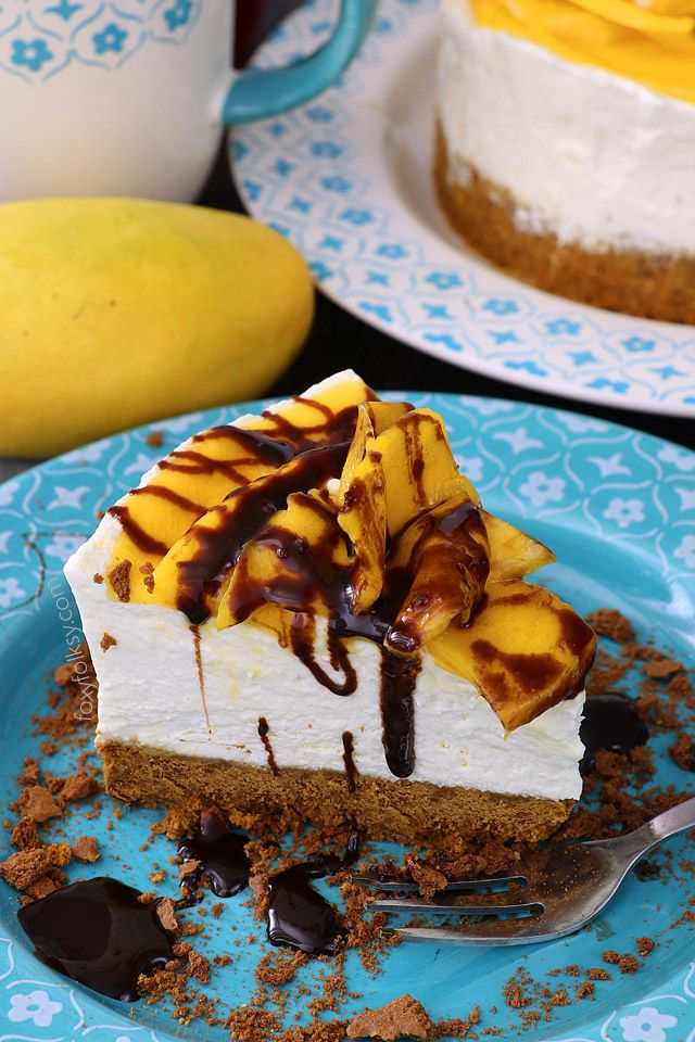 This No Bake Mango Cheesecake is probably the easiest cheesecake recipe I've done. Mildly sweetened to enhance the natural flavors. Try it now! | www.foxyfolksy.com #nobake #no-bake #cheesecake #mango #recipe #yummy #dessert