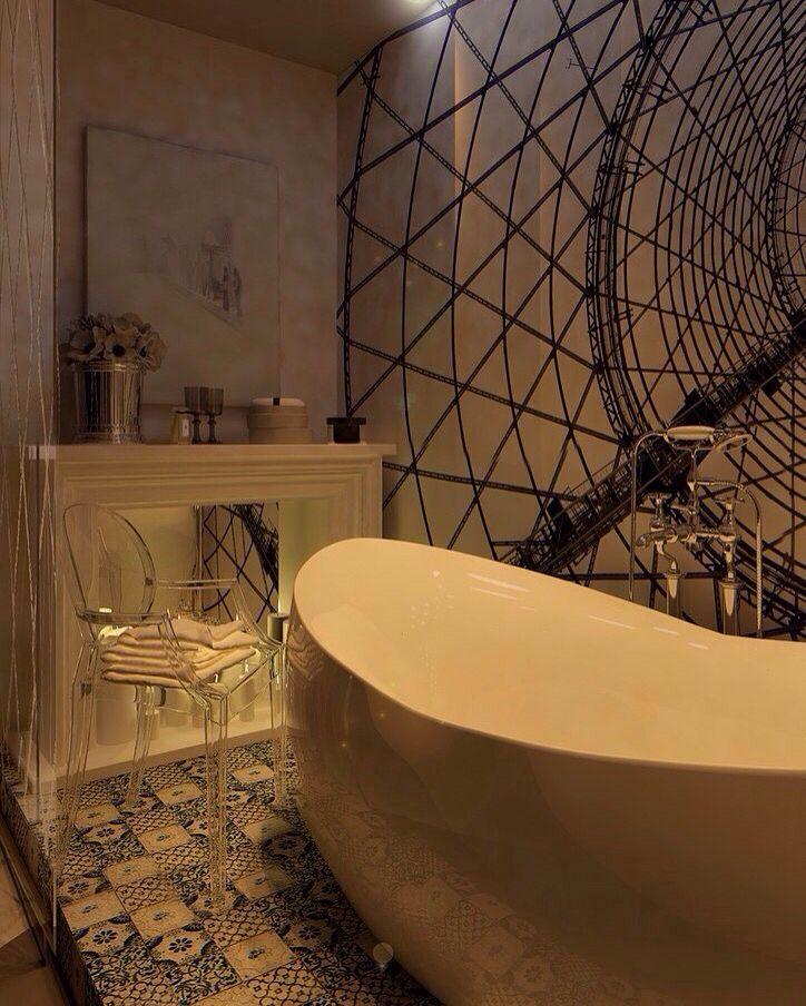 Фотообои в ванной (ночник)  #ванная #санузел #графика #уют #классика #лофт…