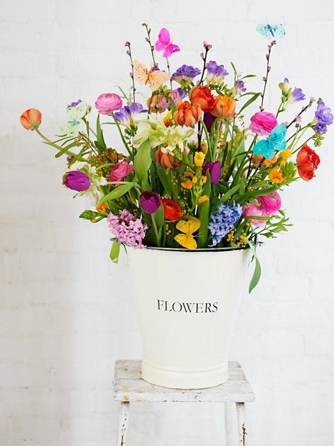 English Country (Tea Party) theme? Wild Flowers, in tin bucket