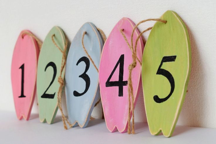 Surf board table numbers Beach party decor Party centerpieces Surfboard ornaments Wedding favors by MyBrightFair on Etsy