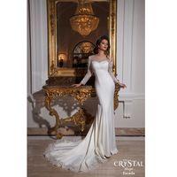 Простой кот свадебные платья с длинным рукавом кружева аппликация совок лонг русалка свадебные платья на заказ труба свадебные платья