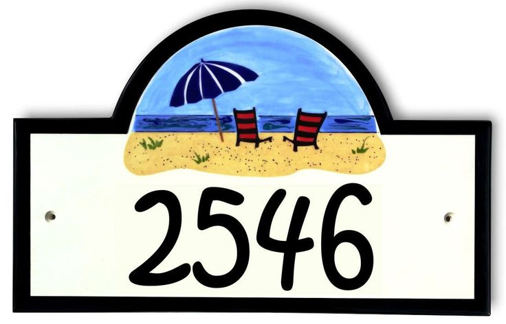 Beach Umbrella House Number Plaque