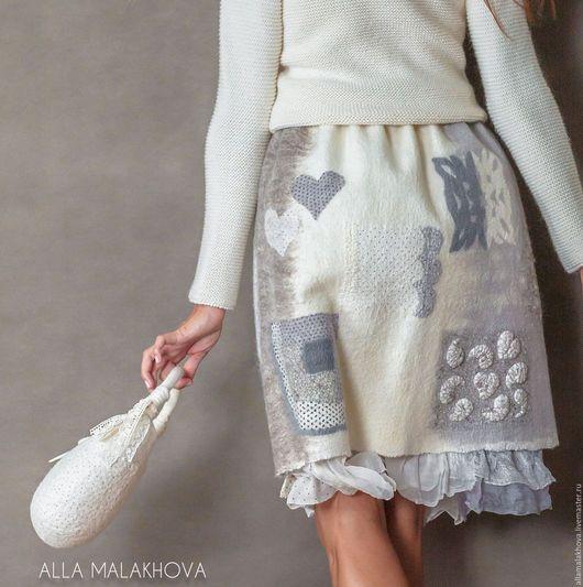 Юбки ручной работы. Заказать Валяная юбка Шале. Алла Малахова    ( Alla Malakhova ). Ярмарка Мастеров. Бежевый