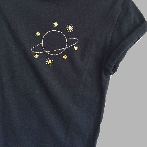 Planet and Stars Shirt, Embroidered, Ladies Tops, Space Print, NASA, Unisex, Pocket Print/WOMANUPCLOTHING