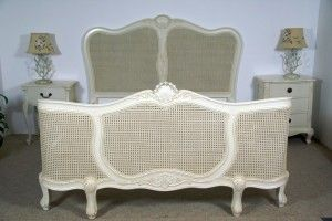 French White Rattan Bed