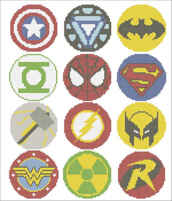 BOGO FREE Superheroes Marvel logos comic от Rainbowstitchcross