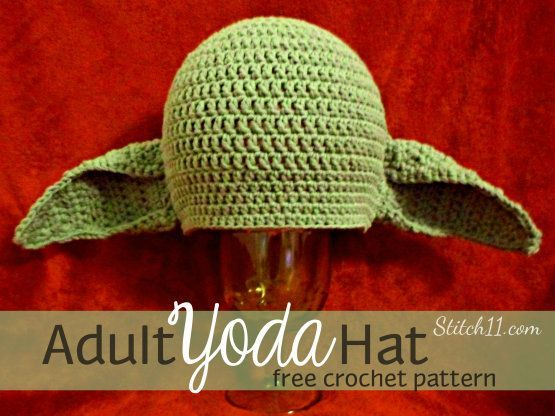 This Yoda beanie is designed for an adult male with a 24 inch head circumference. When laying this beanie flat, it measures 11 inches across and is just over 8.5 inches tall. If you need a different size you can add rounds or  you can use your favorite beanie pattern and just use the …