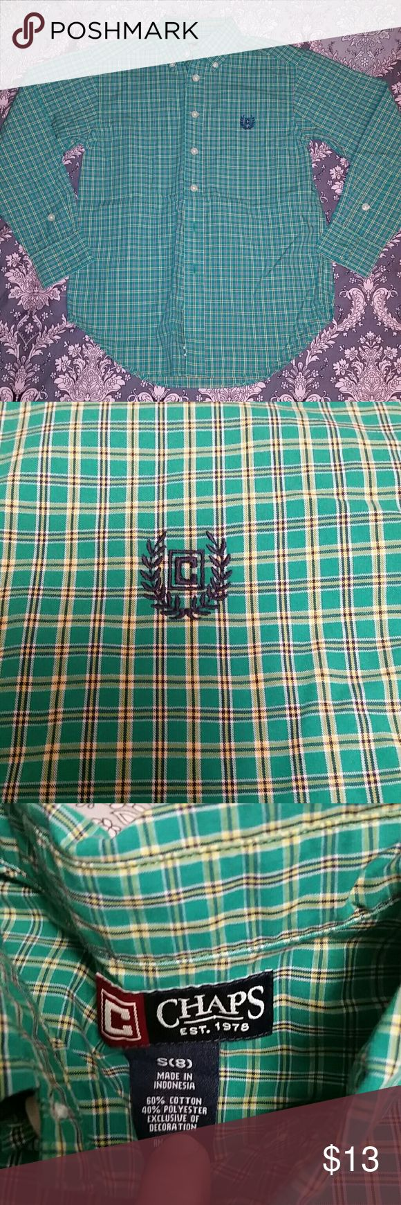 Chaps Ralph Lauren Green Plaid Button Down shirt Boys Chaps Ralph Lauren Green Plaid Button Down shirt. Green, pale yellow and Navy tight plaid pattern. New Without Tags Chaps Shirts & Tops Button Down Shirts