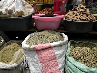 Spices and food for sale in the market.   Link to quick facts about Ramadan  Middle East Islam