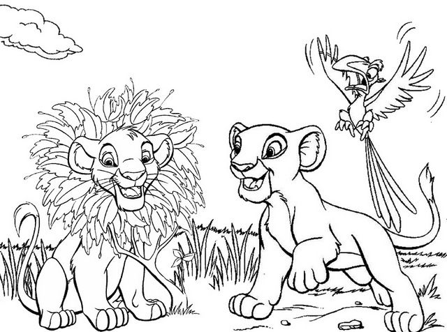 Simba Nala And Zazu In Savana Coloring Page Of The Lion King Lion Coloring Pages Lion King Art Coloring Pages