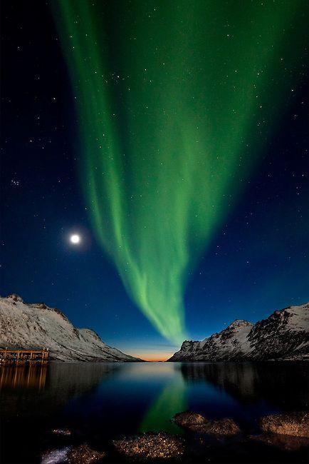 """Aurora Borealis over fjord Ersfjordbotn, Norway. Photo by Ole Salomonsen. (""""The SKY is awake. So I'M awake..."""")"""