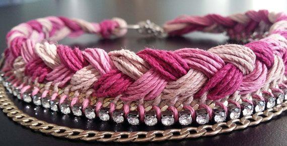Pink  Fuscia color Choker Handmade hemp macrame cord by BYTWINS, €95.00