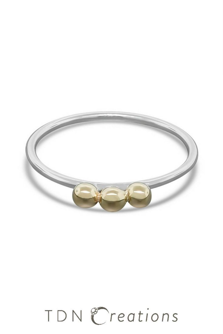 Gold Bubbles Over Silver Ring -  Unique Gift for Her.