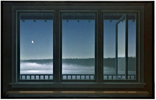 ALL TIME favourite / favourite painting by Canadian painter/artist Christopher Pratt.  Windows, night, moon, stars, mist