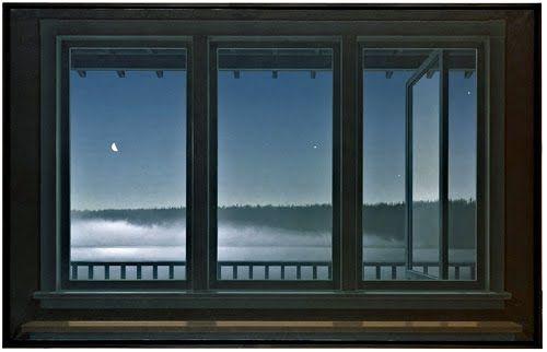ALL TIME favourite / favourite painting by Canadian painter/artist Christopher Pratt.  Windows, night, moon, stars, mist