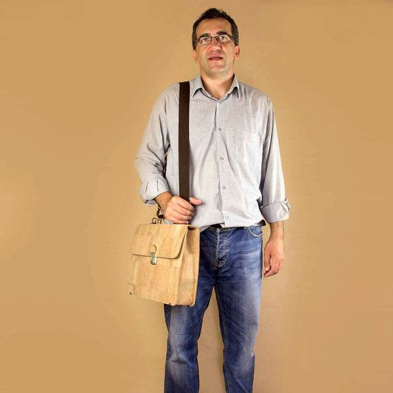 Handcrafted Cork Briefcase Laptop 15  Gift Idea for Men by Corkor, $131.00