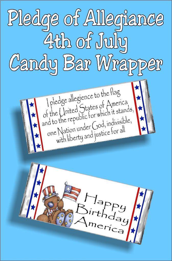 Pledge Of Allegiance Patriotic Candy Bar Wrapper Candy Bar Wrappers Bar Wrappers Candy Bar