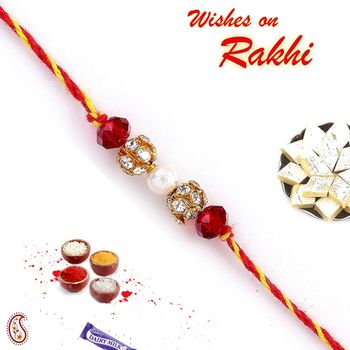 Rakhi gifts online - American diamond balls and Crystal bejewelled Rakhi