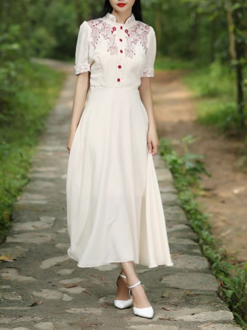 Stand Collar Retro Slim Dresses_Short Sleeve Dress_DRESSES_Wholesale clothing, Wholesale Clothes Online From China