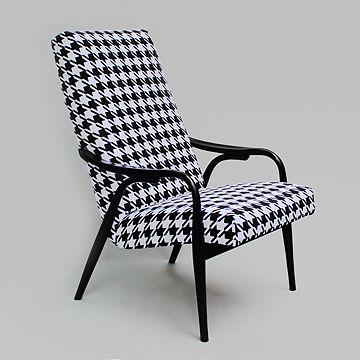restored retro modern armchair, new uphostery, Czechoslovakia design