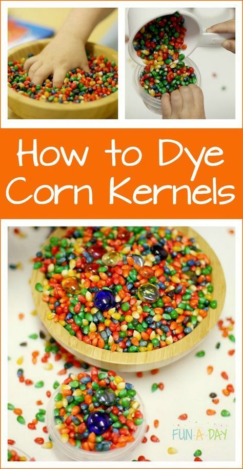 How to dye corn kernels for sensory play and art activities
