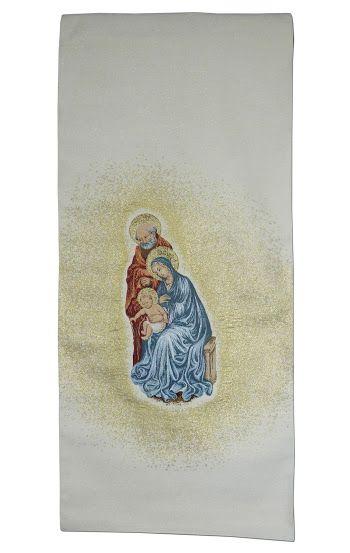 Cubreambón de la Sagrada Familia fabricado en viscosa y poliéster / Lectern cover with the Holy Family's embroidery.(3/3). http://www.articulosreligiososbrabander.es/cubre-ambon-atril-iglesia-bordado-sagrada-familia.html