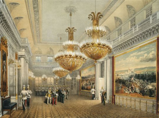 The Field Marshal's Hall of the Winter Palace,1852 by Vasily Semyonovich Sadovnikov (Russian. 1800–1879)