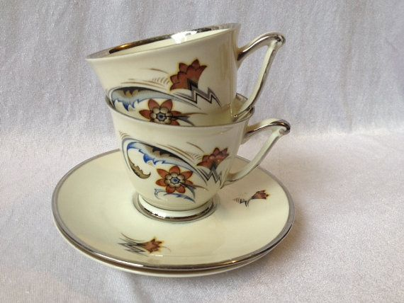 Copenhagen Porcelain Cup And Saucer Set Of 2 Kobenhavn Porcellains Maleri Scandinavian Tea Set Danish Tea Cup