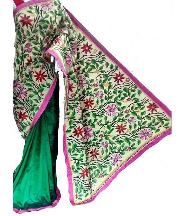 Green Nakshi Kantha Work  Silk Saree