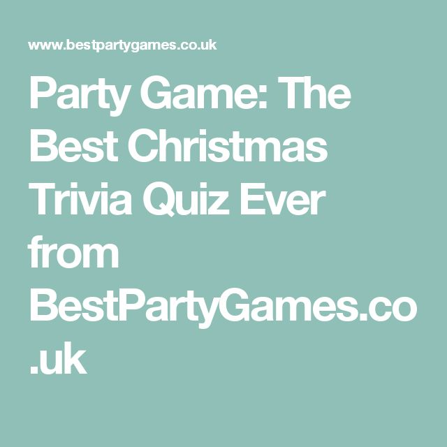 Party Game: The Best Christmas Trivia Quiz Ever from BestPartyGames.co.uk
