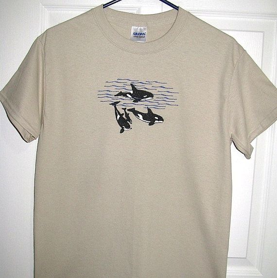 Men's Medium Size Tan Embroidered Orca Whale Pod T-Shirt, Ready to Ship! Whale Shirt, Embroidered Orca Whale Shirt, Men's T-Shirt