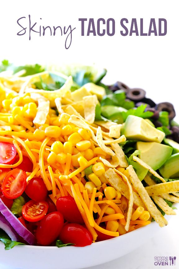 Skinny Taco Salad // totally scrumptious, fresh, full of flavor and GORGEOUS via Gimme Some Oven #appetizer #gameday