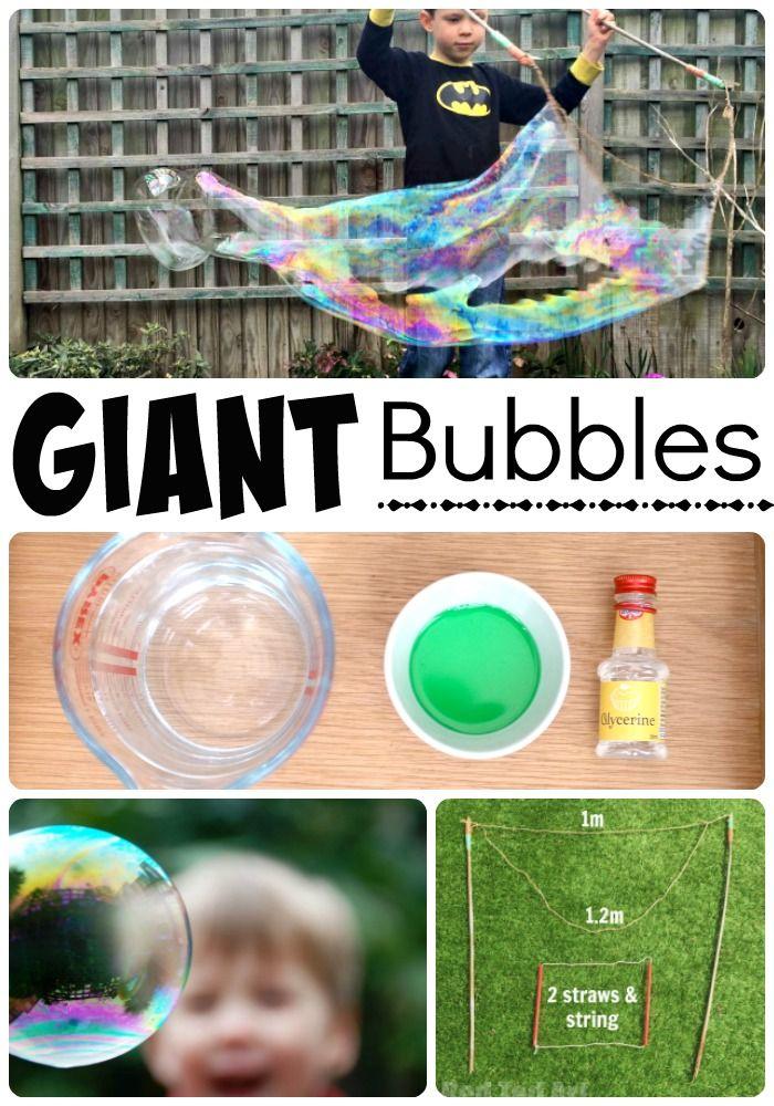 Burbujas gigantes Receta - cómo hacer su propio tutorial mezcla de burbujas, así como la forma de hacer varitas de burbujas gigantes.  Los niños siempre tienen una explosión de este tipo con nuestras burbujas de bricolaje en el verano.  Gran tanto para las necesidades de la burbuja, pequeños y grandes!