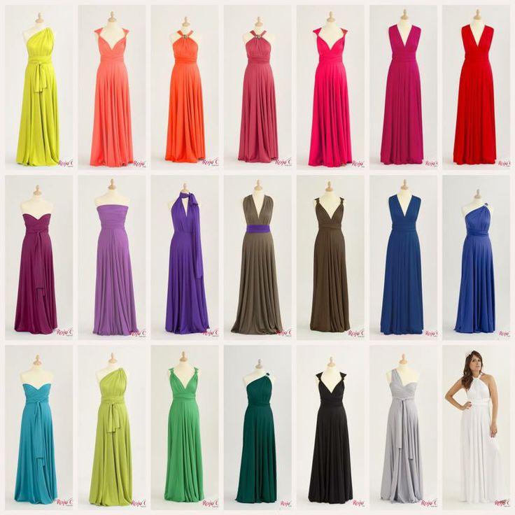 #rojocarmesi #convertibledress Aquí algunos de los colores más veraniegos y llamativos con distintas formas de poder convertir el vestido largo.