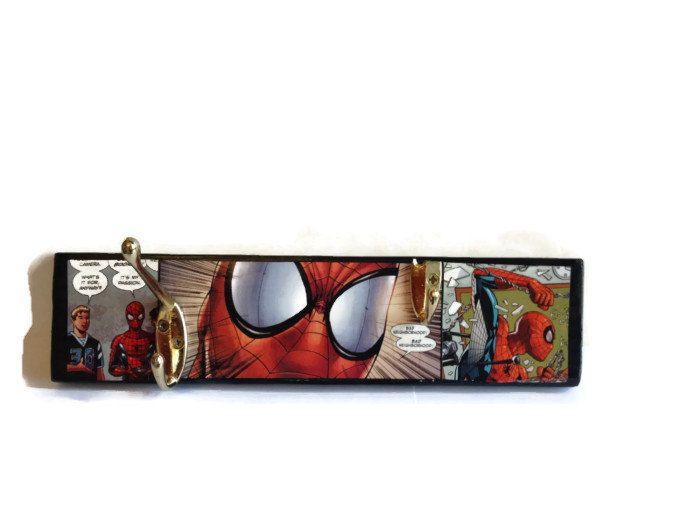 COMIC BOOK Spiderman Coat Pegs Hand Painted Reclaimed Pallet Decor OOAK  Home Or Office Storage Hooks